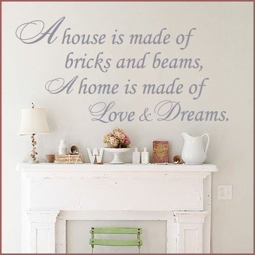 A HOME IS MADE OF LOVE AND DREAMS WORD FAMILY ART Wall Sticker Decals