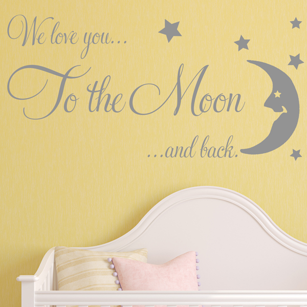 Baby Wall Sticker We Love You To The Moon And Back NURSERY WALL ART Decals  (1)