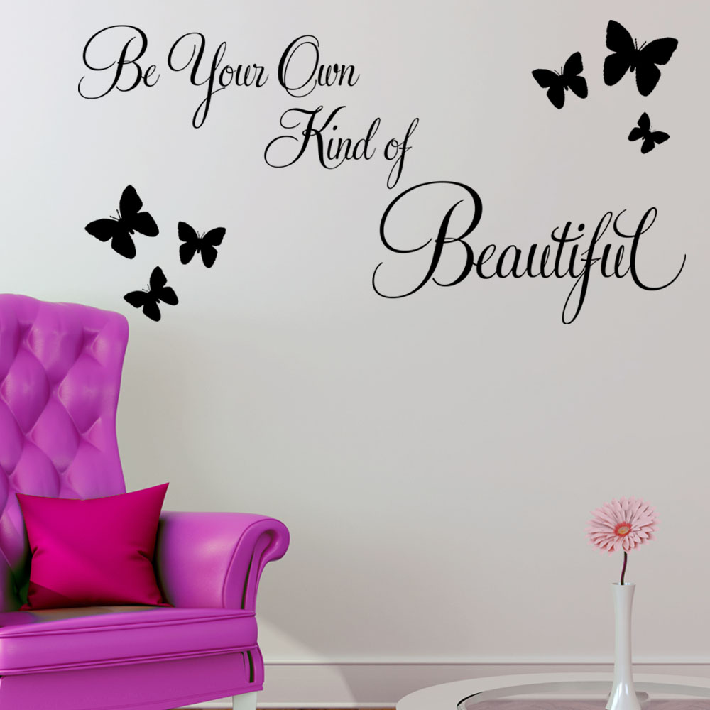 Be your own kind of beautiful wall sticker quote decals for Beautiful wall mural
