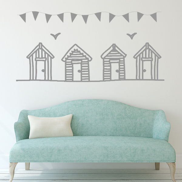 Beach huts and bunting wall stickers decals for Beach wall mural sticker