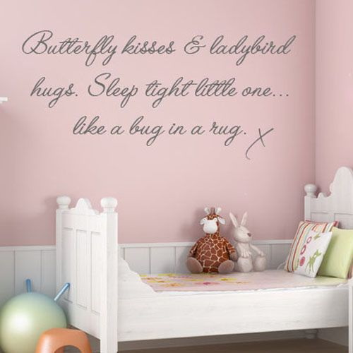 Wall Art Stickers For Nursery : Butterfly kisses childrens baby nursery word art wall