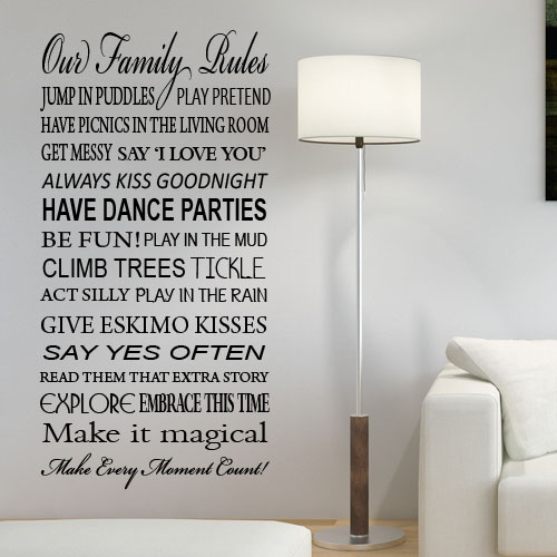 Fun House Rules Wall Sticker ~ Wall Sticker / Decals Part 66