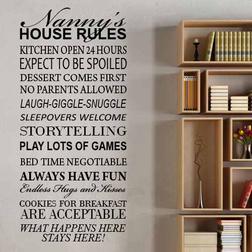 Grandparents House Rules Wall Sticker ~ Wall Sticker / Decals  Personalised