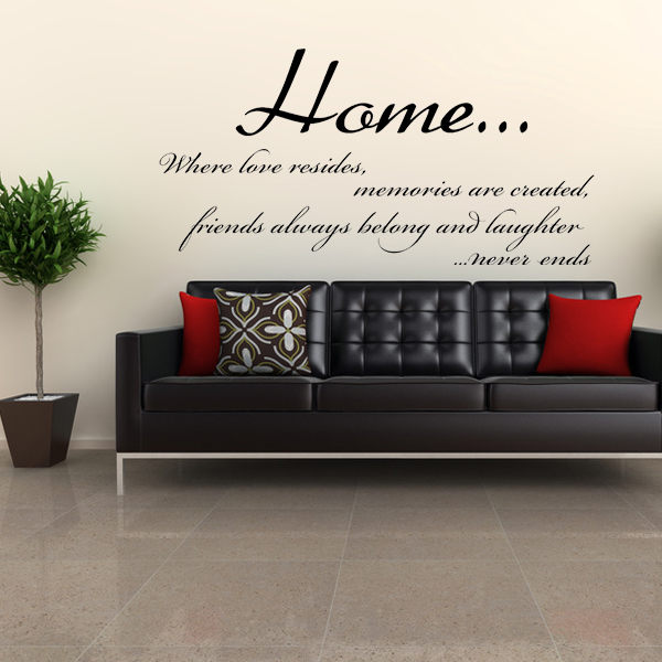 Home where love resides wall sticker decals