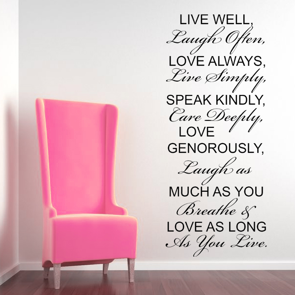 Live well laugh often love always wall sticker decals