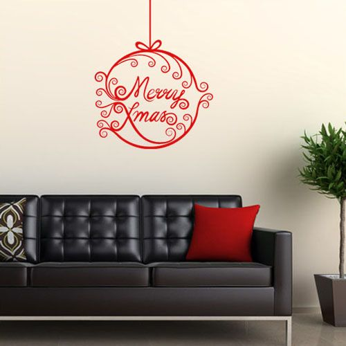 merry christmas amp bauble wall sticker decals christmas wall stickers wall art kids