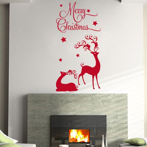 Merry christmas reindeer wall sticker decals for Christmas wall mural plastic