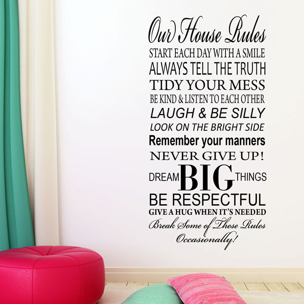 Our Family House Rules Wall Sticker ~ Wall Sticker / Decals Part 94