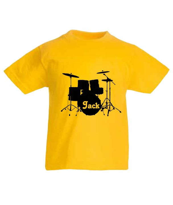 personalised drum kit childrens t shirt