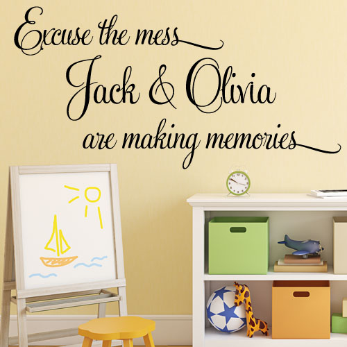 Personalised excuse the mess memories wall sticker decals