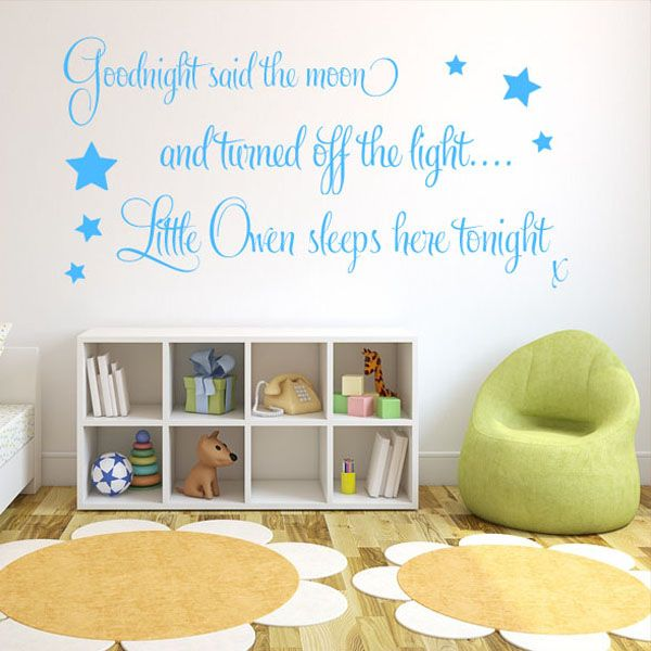 Personalised Goodnight Said The Moon Baby Boys ~ Wall Sticker / Decals Part 36