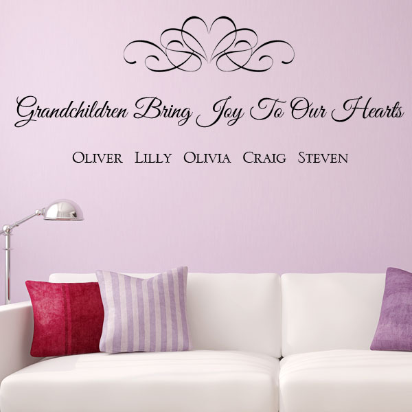 Personalised grandchildren bring joy to our hearts wall sticker decals