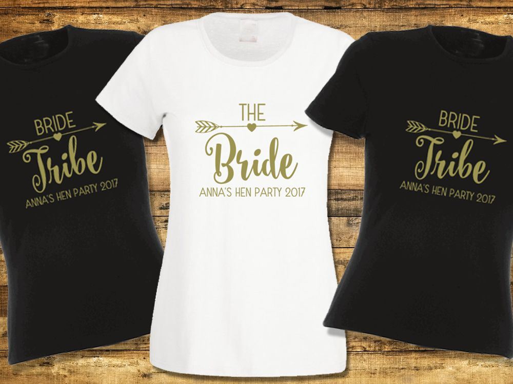 Personalised hen party t shirt bride tribe for Hen party t shirts