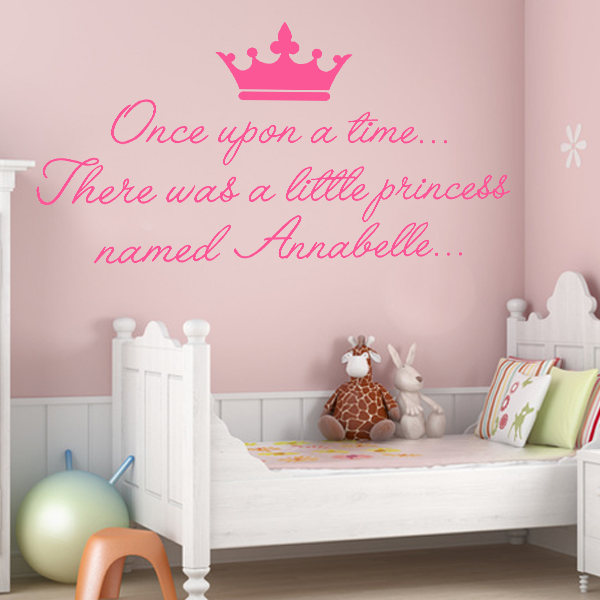 Personalised once upon a time princess wall sticker decals