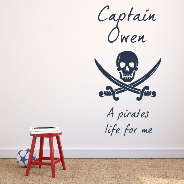 Personalised pirates life for me wall sticker decals