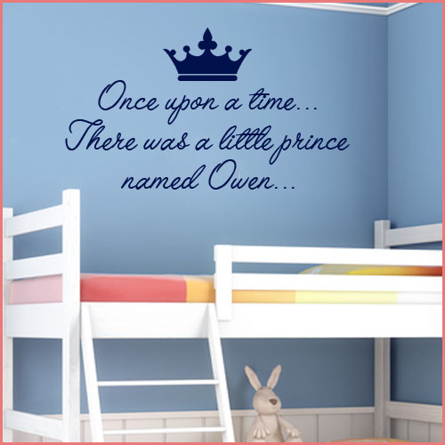 Personalised prince wall sticker once upon a time decals