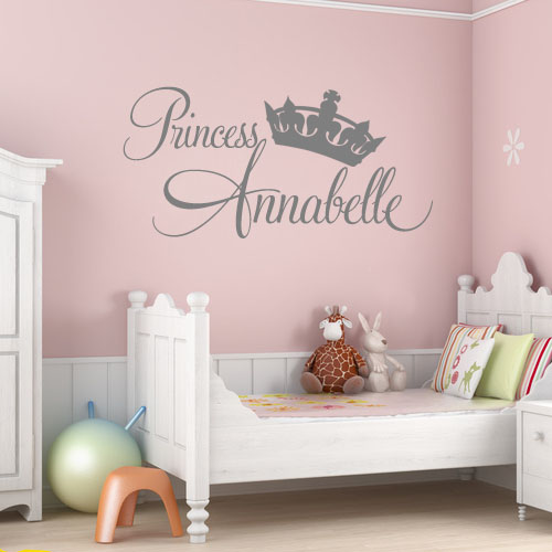 Personalised princess girls wall sticker decals 2