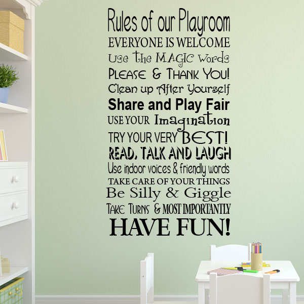 Playroom classroom rules wall sticker wall sticker decals