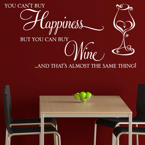 you can t buy happiness but you can buy wine wall sticker