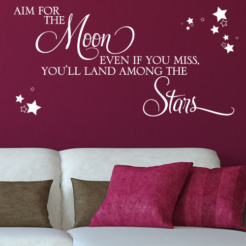 Aim For The Moon Motivational Wall Sticker Decals