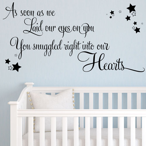 as soon as we laid our eyes on you baby wall sticker nursery wall