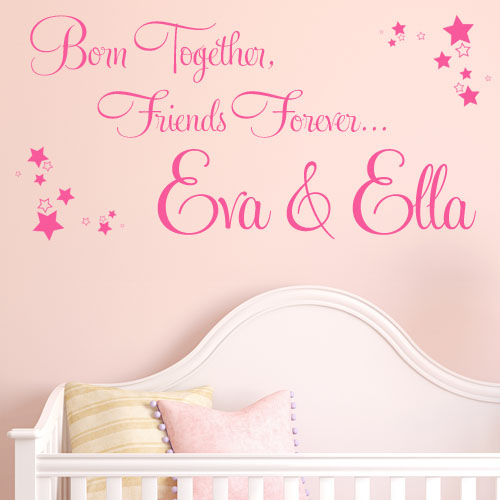 Born Together Friends Forever Personalised Twins Wall