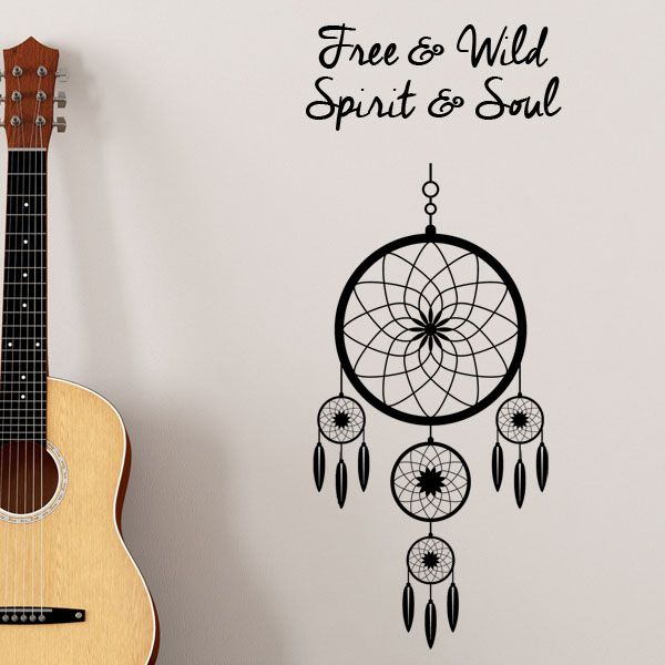 free and wild dreamcatcher wall stickers decals