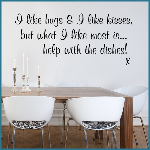 Kitchen Decor Quotes: I Like Hugs & I Like Kisses Funny Kitchen Wall Sticker Decals