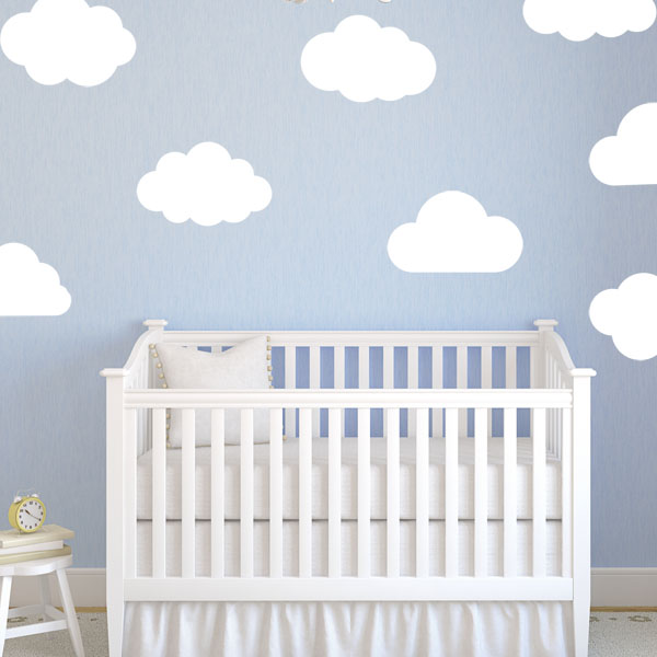 large clouds pack of 8 baby nursery wall sticker decals