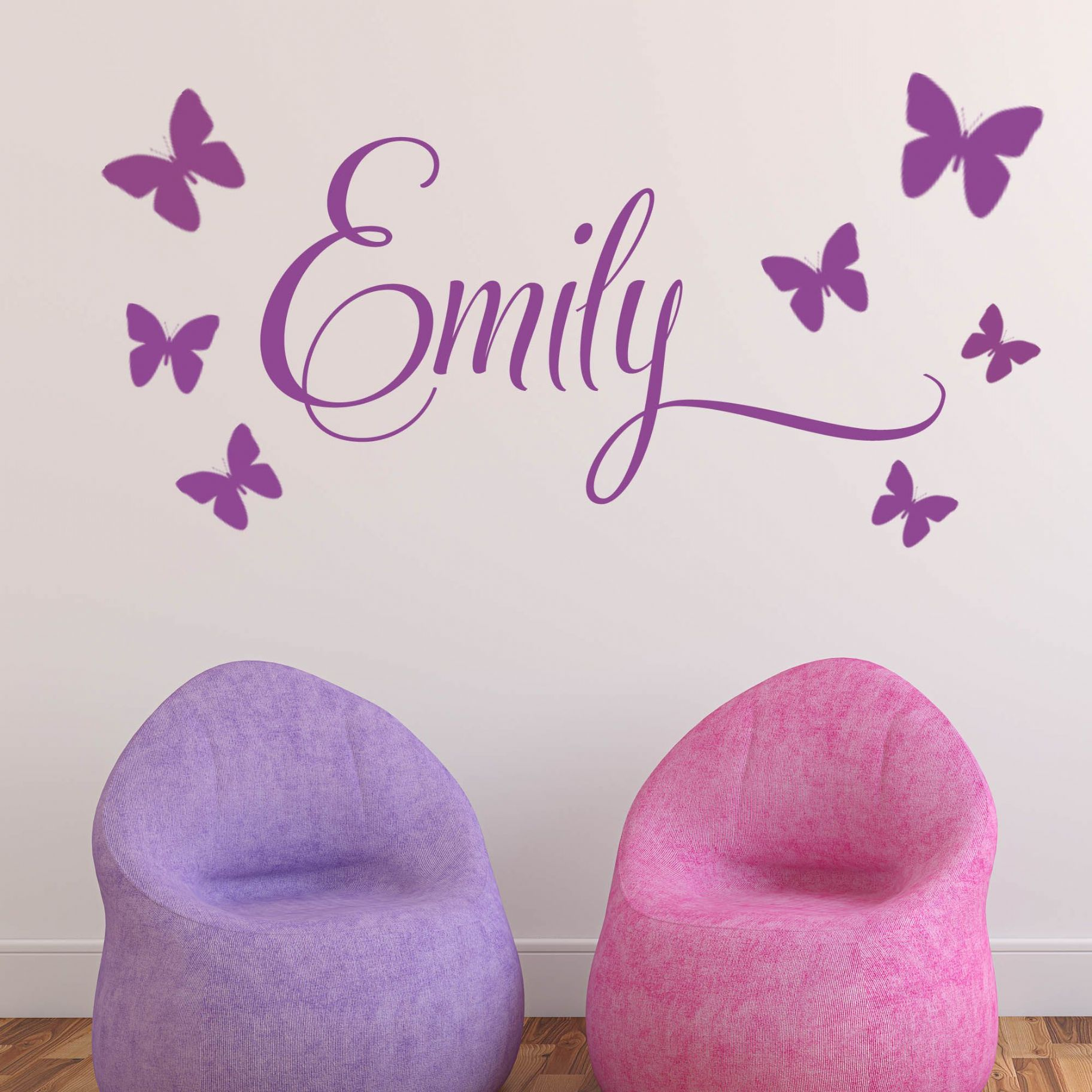personalised children s 7 butterfly name wall sticker decal