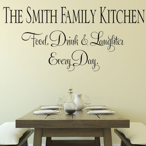 Personalised Family Kitchen Eat Drink Laughter Wall Sticker Decals 1
