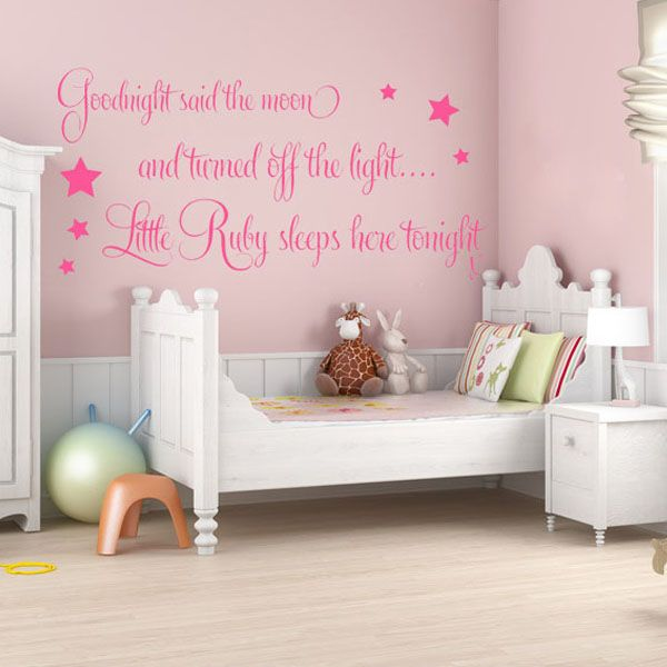 personalised goodnight said the moon baby girls wall sticker decals