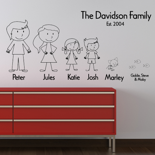 Personalised stick family wall sticker decals