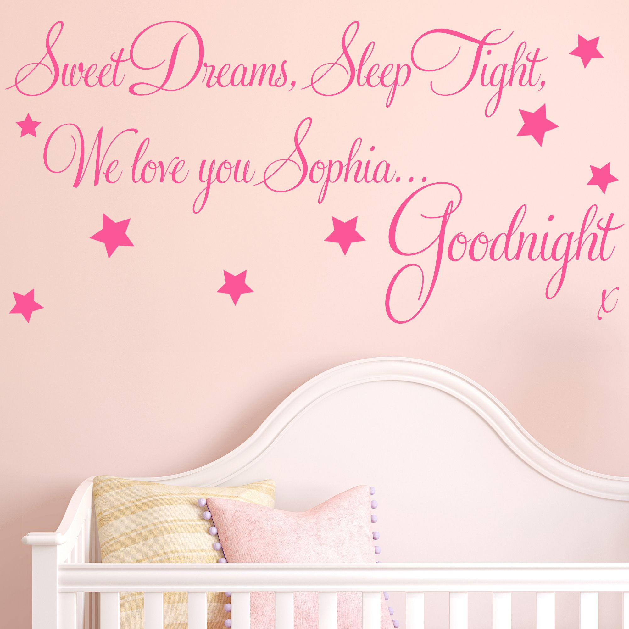 Personalised Sweet Dreams Baby Childrens Wall Sticker Decals