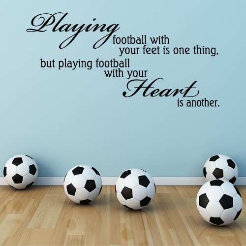 playing football with the heart boys girls sport wall sticker decals