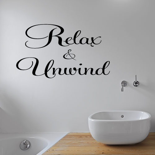 relax & unwind bathroom wall stickers decal