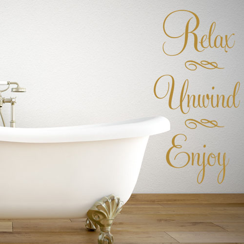 relax unwind enjoy - bathroom wall stickers decal